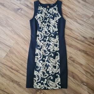 Bardot Size 10 Black Floral Sequin Pattern Shaper Maxi Midi Dress